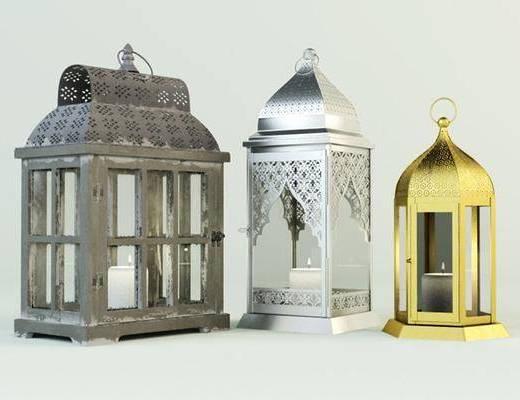 烛台灯, 手提灯, 欧式, 金属