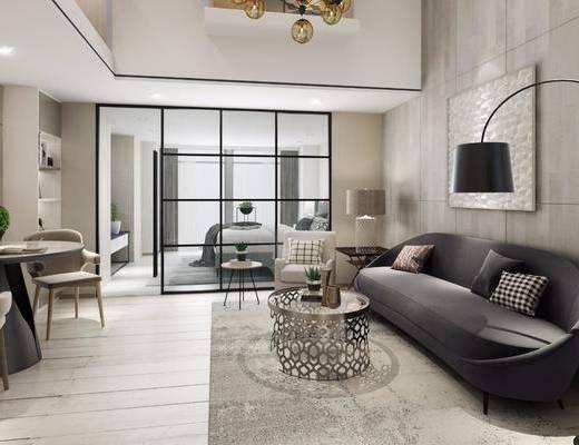 现代公寓客厅, 现代, 客厅, 公寓, 卧室, 床, 沙发椅子, 落地灯