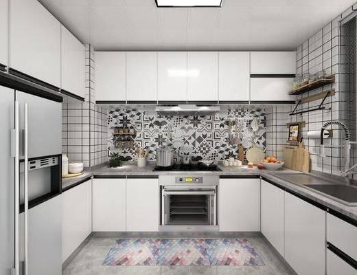 厨房, 餐具, 橱柜, 水果, 北欧