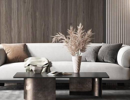 沙发组合, 茶几, 花瓶, 摆件组合
