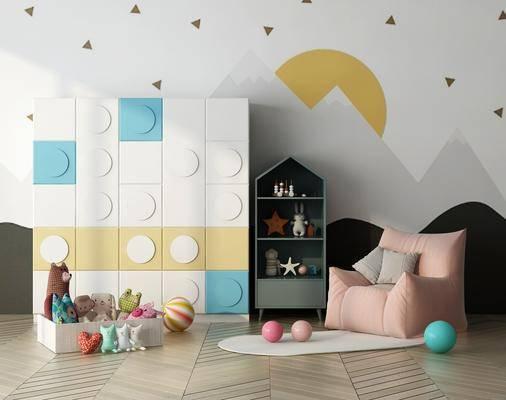 玩具柜, 懒人沙发, 现代儿童衣柜