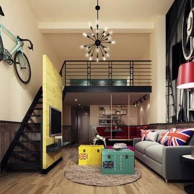 公寓, 客厅, 沙发组合, 沙发茶几组合, 自行车, 装饰画, 挂画, 吊灯