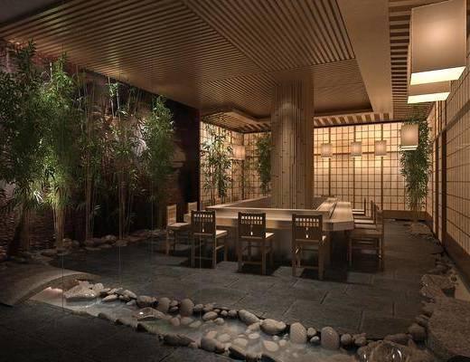 茶馆, 桌椅组合, 植物, 景观小品