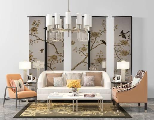 沙发组合, 美式沙发, 现代沙发, 屏风, 吊灯, 台灯