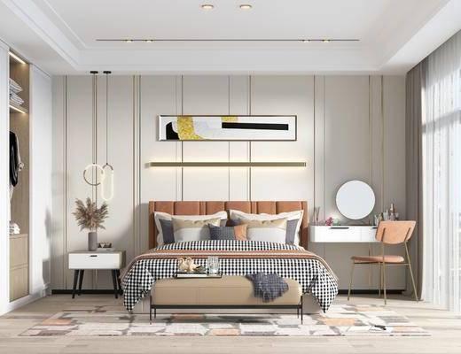 双人床, 床具组合, 装饰画, 床头柜, 衣柜, 梳妆台, 花瓶