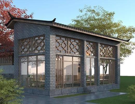 会客厅, 建筑, 休息室, 青砖青瓦, 木门窗