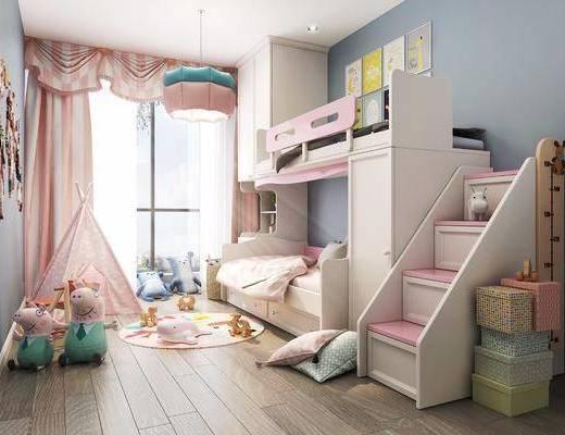 儿童房, 上下床, 玩具组合, 挂画组合, 墙饰组合, 北欧