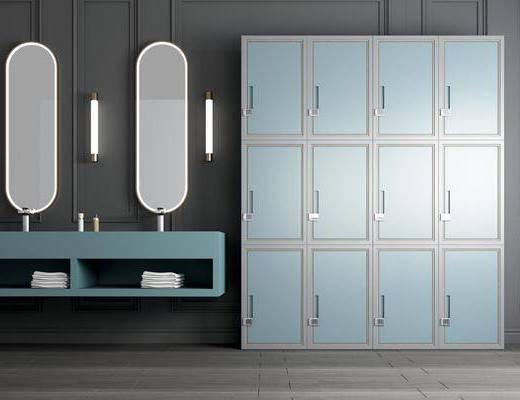 员工储物柜, 寄存柜, 洗手台, 洗手柜
