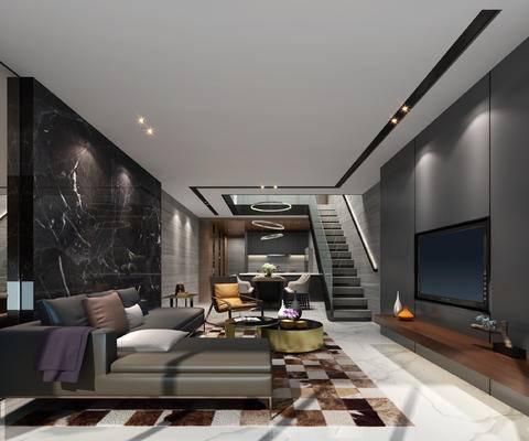 现代, 公寓, 客厅, 餐厅, 客餐厅, 沙发组合, 电视柜, 餐桌椅, 椅子, 桌子, 多人沙发, 转角沙发