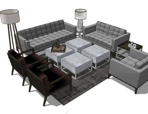 沙发组合, 茶几, 落地灯, 单椅, 摆件