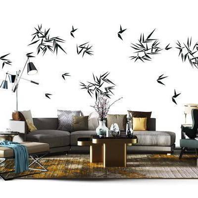 多人沙发, 布艺沙发, 单人沙发, 沙发凳, 茶几, 摆件, 台灯, 现代