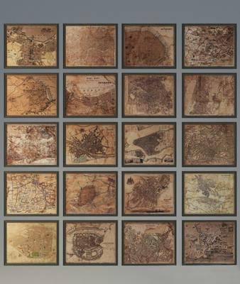 挂画, 装饰画, 地图, 地图挂画, 现代
