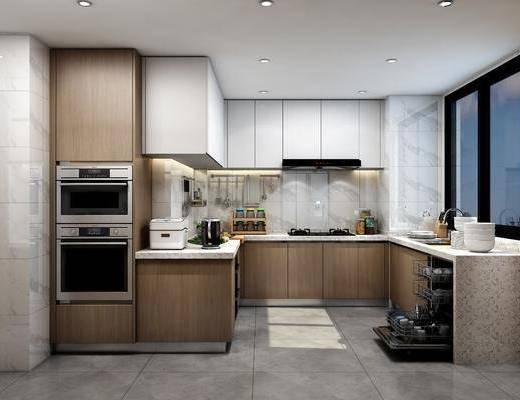 厨房, 橱柜, 厨具, ?#35789;?#21488;, 水果, 冰箱, 现代轻奢