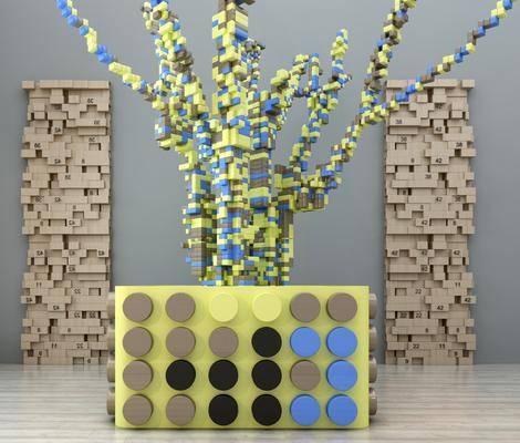 积木, 装饰品, 陈设品, 现代