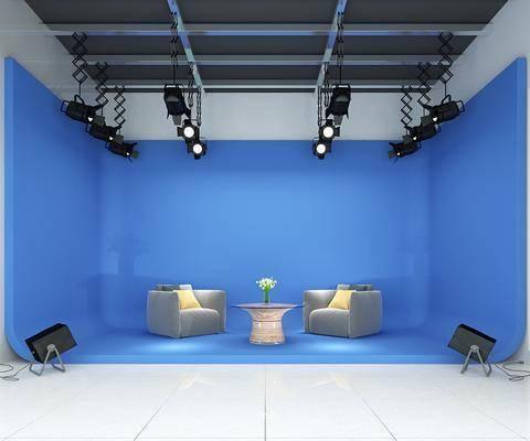 电视台, 演播室, 单人沙发, 茶几, 射灯, 现代