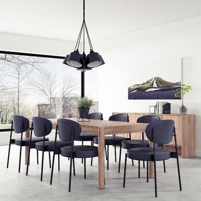 餐桌, 餐椅, 边柜, 摆件, 吊灯, 现代, 双十一