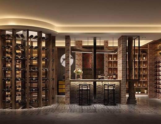 工业风酒窖, 酒柜, 酒瓶, 吧台椅, 装饰柜, 酒架