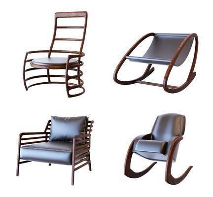 单人椅, 休闲椅, 新中式