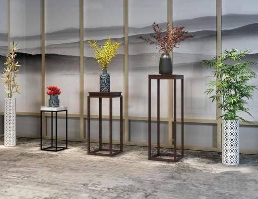 新中式, 花瓶, 盆栽, 摆件组合, 植物组合