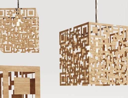 现代, 实木, 造型吊灯