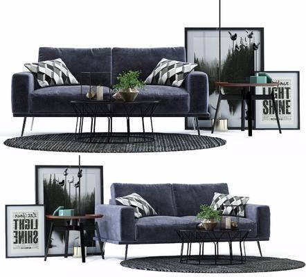多人沙发, 装饰画, 挂画, 茶几, 边几, 现代