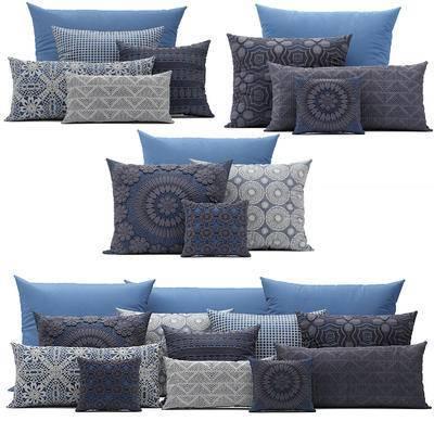 新中式, 花纹抱枕, 抱枕, 枕头, 中式