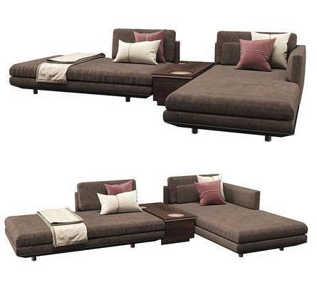 现代, 咖色, 沙发, 组合