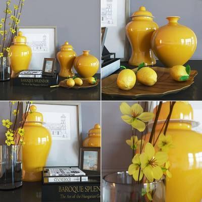 陶瓷, 花卉, 水果, 书籍, 饰品, 现代陶瓷花卉水果书籍饰品挂画摆件组合