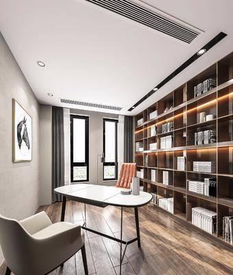 书桌, 书架, 书籍, 挂画, 现代