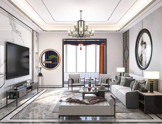沙发组合, 茶几, 吊灯, 电视柜, 墙饰, 摆件, 边几