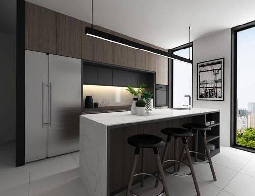 厨房, 吧台, 吧椅, 单人椅, 装饰画, 挂画, 冰箱, 洗手台, 摆件, 装饰品, 陈设品, 现代