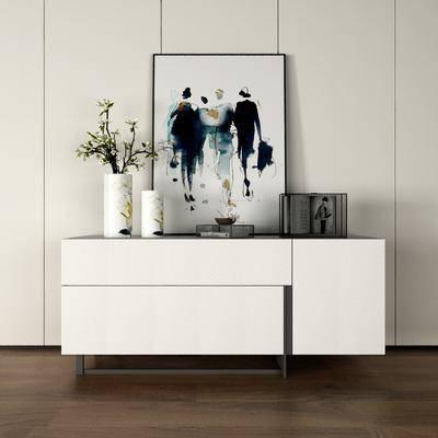边柜, 玄关柜, 摆件组合, 装饰画, 花瓶