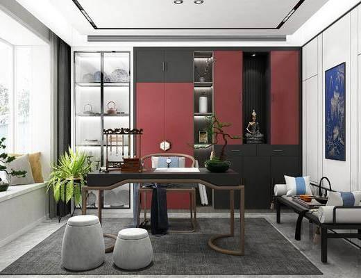 新中式, 书房, 家装