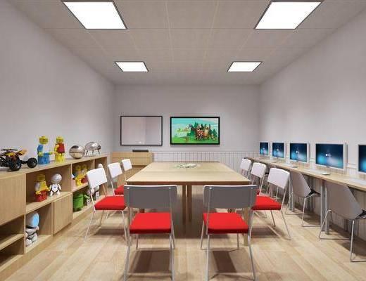 儿童教室, 儿童桌椅, 机器人玩具, 摆件