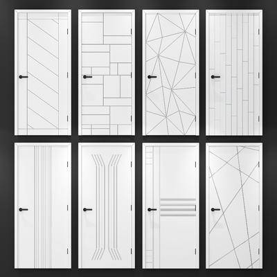 现代木门组合, 白色木门, 几何图案, 房门