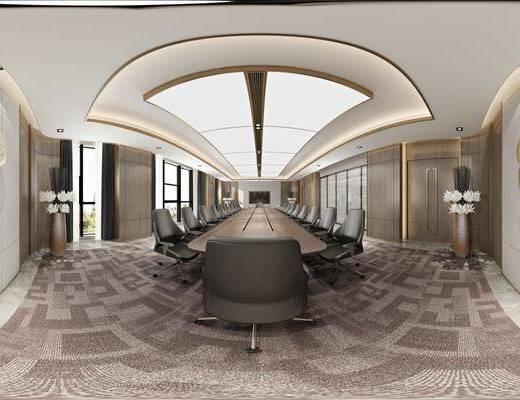 会议室, 工装全景, 会议桌椅组合, 墙饰组合, 现代轻奢