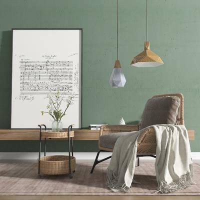 北欧, 藤椅, 休闲椅, 单体