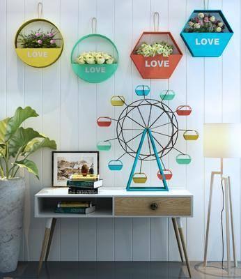 置物架, 饰品组合, 摩天轮, 落地灯, 盆栽, 墙饰, 花卉, 现代