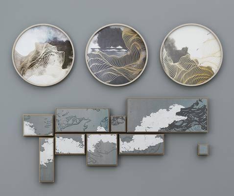 装饰画, 圆框画, 抽象画, 挂画组合, 新中式