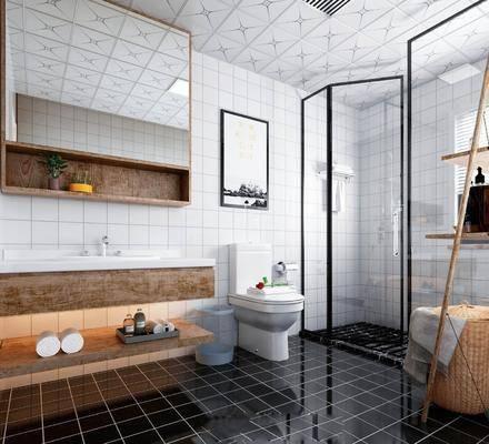 衛生間, 洗手臺, 裝飾鏡, 馬桶, 洗漱組合, 裝飾畫, 裝飾架, 擺件, 裝飾品, 陳設品, 現代