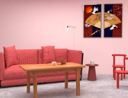 双人沙发, 多人沙发, 茶几, 边几, 单人椅, 装饰画, 挂画, 落地灯, 北欧