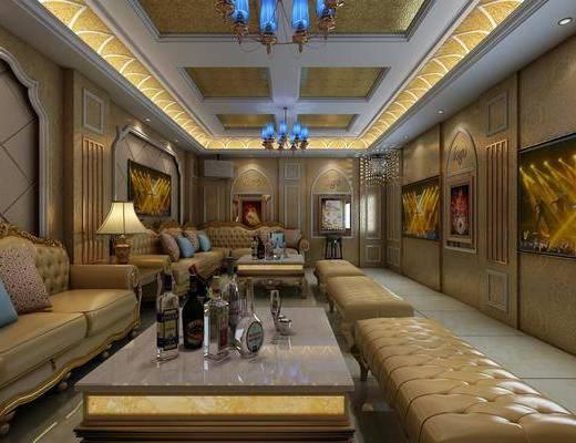 豪华ktv, 双人沙发, 凳子, 茶几, 边几, 台灯, 吊灯, 转角沙发, 欧式