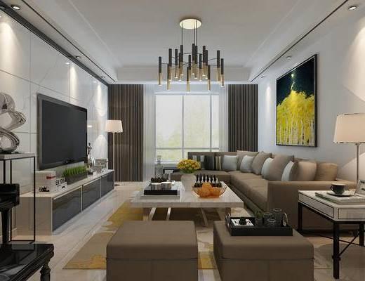 客厅, 沙发组合, 沙发茶几组合, 多人沙发, 茶几, 装饰画
