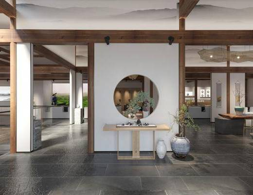茶室, 展覽展廳, 桌椅組合, 案幾組合, 擺件組合, 新中式