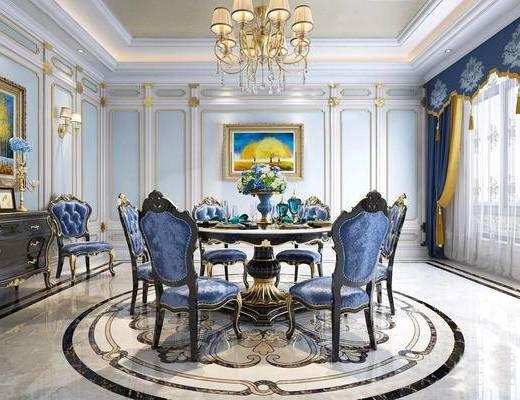 欧式混搭, 欧式客厅, 混搭客厅, 古典客厅, 客厅, 下得乐3888套模型合辑