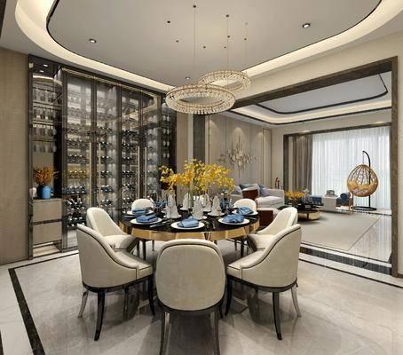 客厅, 餐厅, 沙发组合, 沙发茶几组合, 餐桌椅组合, 酒柜组合, 餐具组合, 后现代