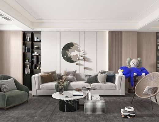 现代简约, 客厅, 沙发, 边几, 休闲椅