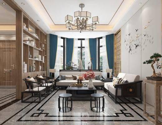 沙发组合, 茶几, 吊灯, 墙饰, 窗帘
