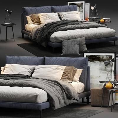 边几, 台灯, 装饰画, 地毯, 沙发凳, 抱枕, 双人床, 床具组合, 现代
