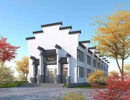 徽派建筑商业, 青瓦白墙, 马头墙
